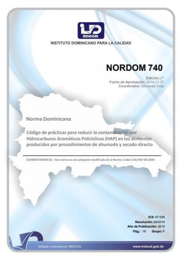 NORDOM 740- CÓDIGO DE PRÁCTICAS PARA REDUCIR LA CONTAMINACIÓN POR HIDROCARBUROS AROMÁTICOS POLICÍCLICOS (HAP) EN LOS ALIMENTOS PRODUCIDOS POR PROCEDIMIENTOS DE AHUMADO Y SECADO DIRECTO.