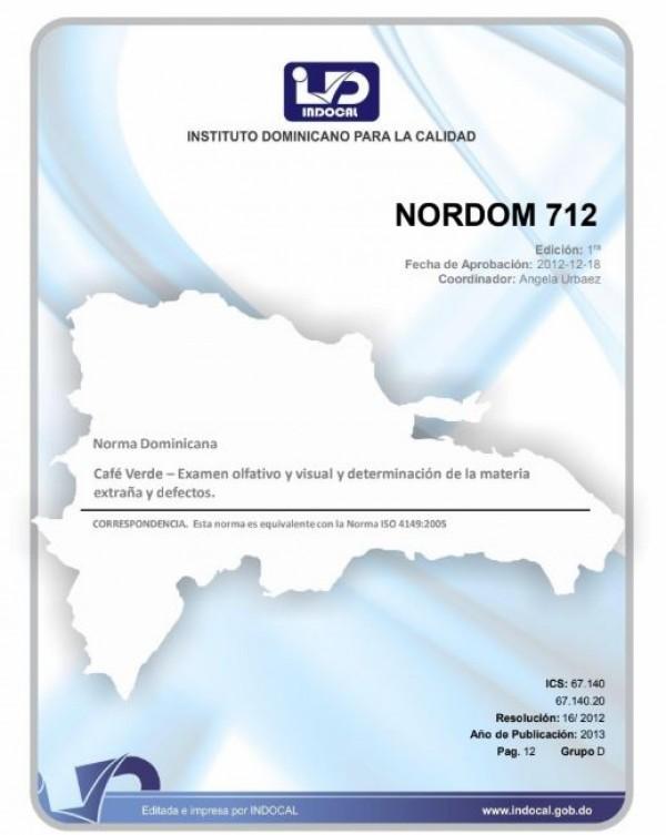 NORTDOM 712 - CAFE VERDE-EXAMEN OLFATIVO Y VISUAL, Y DETERMINACION DE LA MATERIA EXTRAÑA Y DEFECTOS.