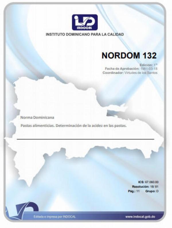 NORDOM 132 - PASTAS ALIMENTICIAS. DETERMINACIÓN DE LA ACIDEZ EN LAS PASTAS.