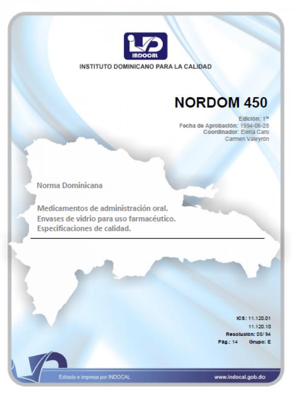 NORDOM 450 - MEDICAMENTOS DE ADMINISTRACIÓN ORAL. ENVASES DE VIDRIO PARA USO FARMACÉUTICO. ESPECIFICACIONES DE CALIDAD.