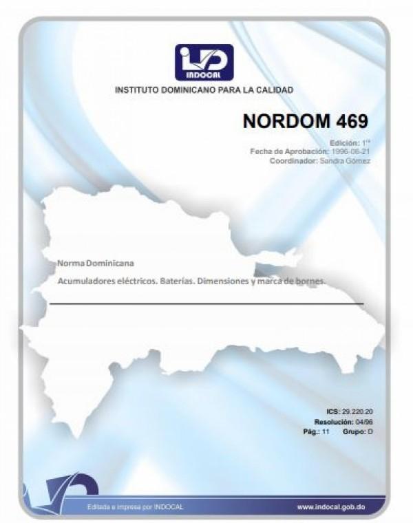 NORDOM 469- ACUMULADORES ELÉCTRICOS. BATERÍAS. DIMENSIONES Y MARCA DE BORNES.