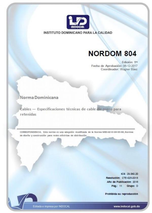 NORDOM 804 - CABLES — ESPECIFICACIONES TÉCNICAS DE CABLE DE ACERO PARA RETENIDAS