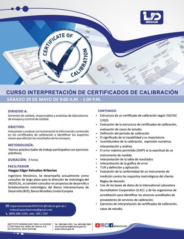 CURSO INTERPRETACIÓN DE CERTIFICADOS DE CALIBRACIÓN