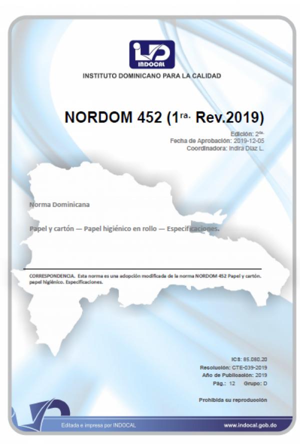 NORDOM 452 - PAPEL Y CARTÓN — PAPEL HIGIÉNICO EN ROLLO — ESPECIFICACIONES. (1RA. REV. 2019)
