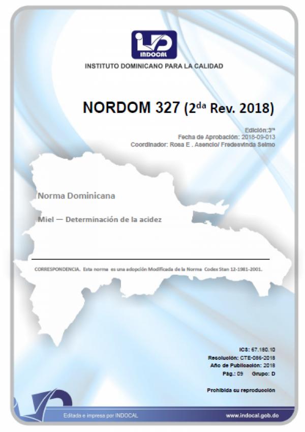 NORDOM 327 - MIEL - DETERMINACIÓN DE LA ACIDEZ (2DA. REV. 2018)