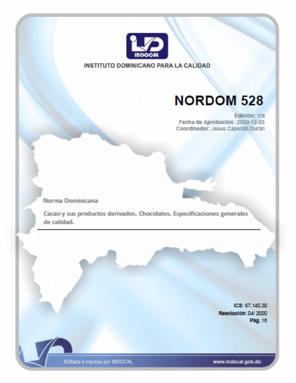 NORDOM 528- CACAO Y SUS PRODUCTOS DERIVADOS. CHOCOLATE. ESPECIFICACIONES GENERALES DE CALIDAD.