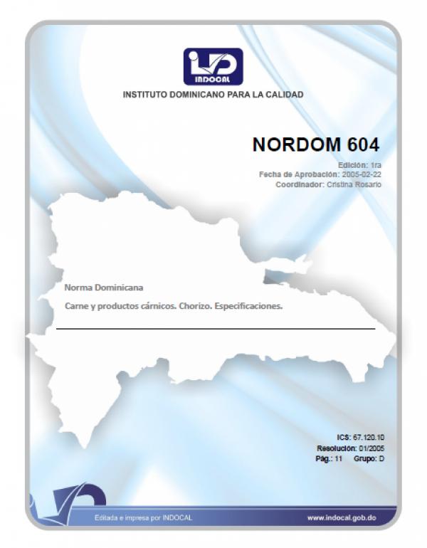 NORDOM 604- CHORIZO – ESPECIFICACIONES (1RA REV. 2019)