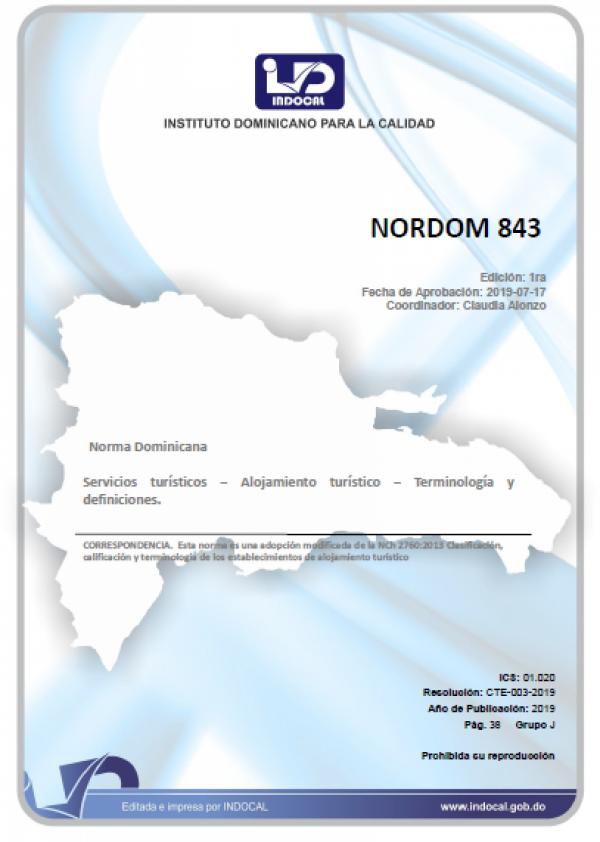 NORDOM 843 - SERVICIOS TURÍSTICOS - ALOJAMIENTO TURÍSTICO - TERMINOLOGÍA Y DEFINICIONES.