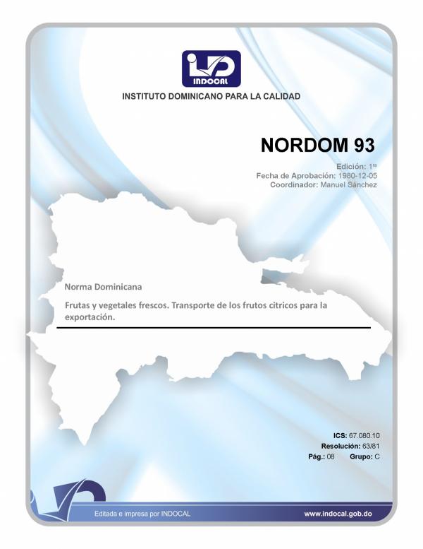 NORDOM 93 - FRUTAS Y VEGETALES FRESCOS. TRANSPORTE DE LOS FRUTOS CÍTRICOS PARA LA EXPORTACIÓN.