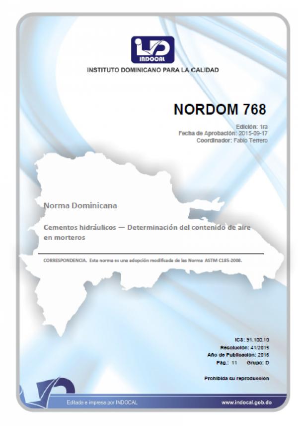 NORDOM 768- CEMENTOS HIDRÁULICOS - DETERMINACIÓN DEL CONTENIDO DE AIRE EN MORTEROS.