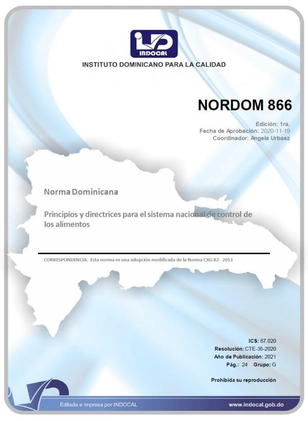 NORDOM 866 - PRINCIPIOS Y DIRECTRICES PARA EL SISTEMA NACIONAL DE CONTROL DE LOS ALIMENTOS.