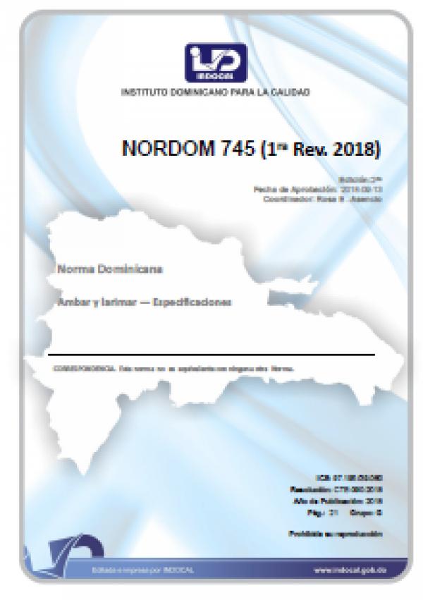 NORDOM 745- AMBAR Y LARIMAR  ESPECIFICACIONES (1RA REV. 2018)
