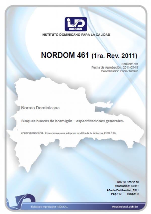NORDOM 461  (1ra. Rev. 2011)- BLOQUES HUECOS DE HORMIGON.  ESPECIFICACIONES GENERALES.