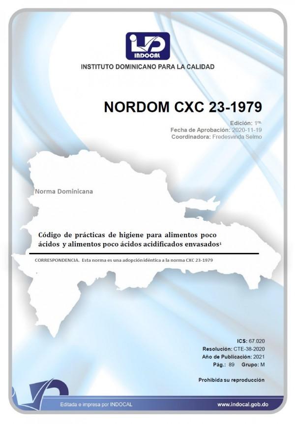NORDOM CXC 23-1979 - CÓDIGO DE PRÁCTICAS DE HIGIENE PARA ALIMENTOS POCO ÁCIDOS Y ALIMENTOS POCO ÁCIDOS ACIDIFICADOS ENVASADOS.