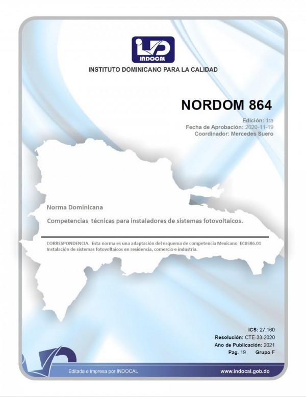 NORDOM 864 - COMPETENCIAS TÉCNICAS PARA INSTALADORES DE SISTEMAS FOTOVOLTAICOS.