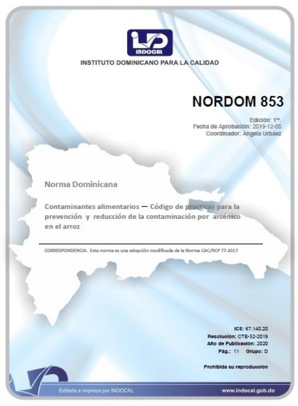 NORDOM 853 - CONTAMINANTES ALIMENTARIOS — CÓDIGO DE PRÁCTICAS PARA LAPREVENCIÓN Y REDUCCIÓN DE LA CONTAMINACIÓN POR ARSÉNICO EN EL ARROZ
