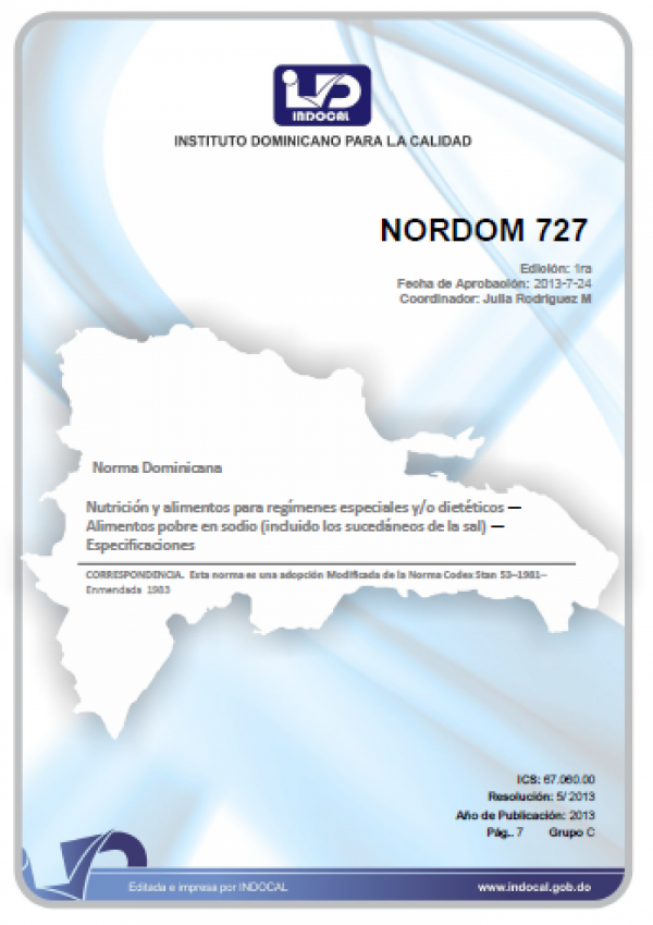 NORDOM 727- ALIMENTOS POBRE EN SODIO (INCLUIDO LOS SUCEDÁNEOS DE LA SAL). ESPECIFICACIONES.