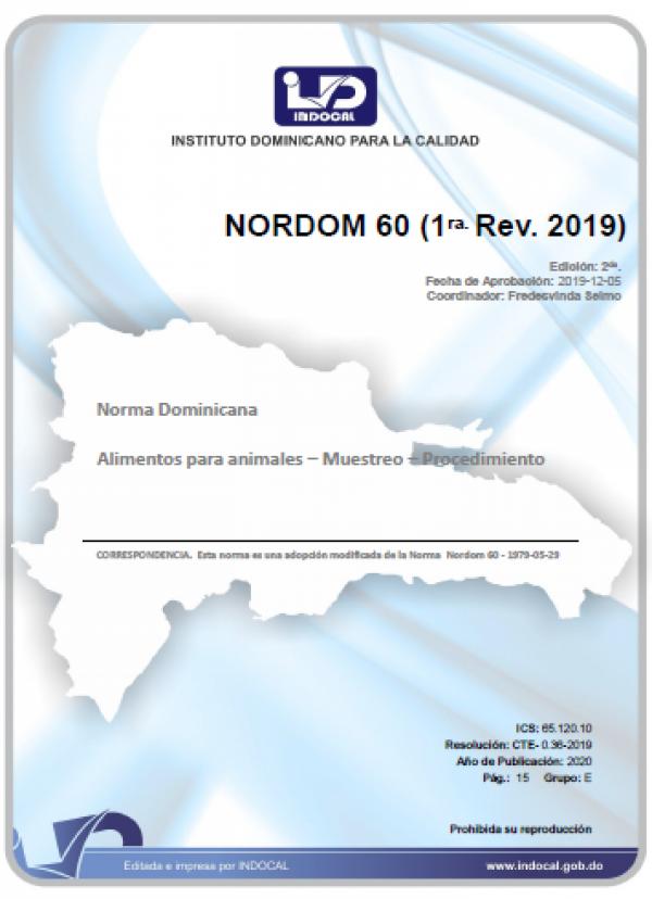 NORDOM 60 - ALIMENTOS PARA ANIMALES – MUESTREO – PROCEDIMIENTO (1RA. REV. 2019)