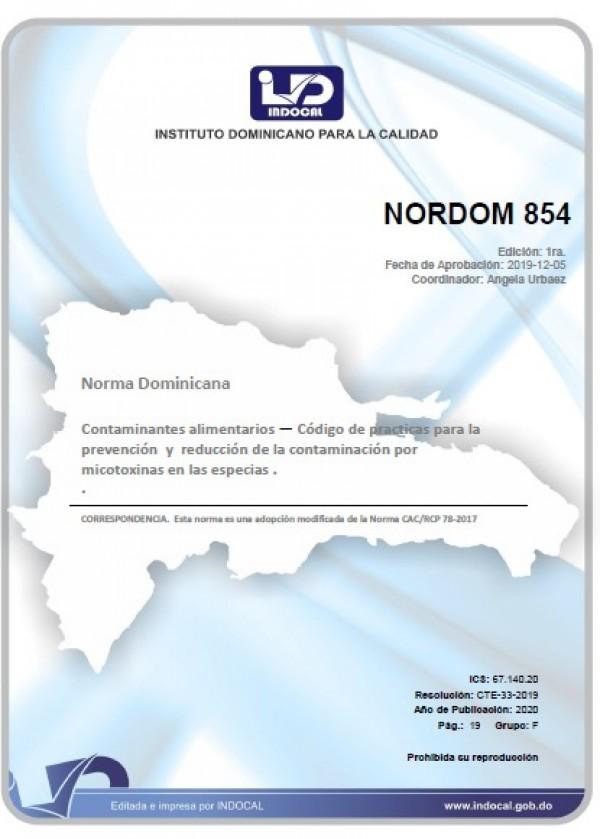 NORDOM 854 - CONTAMINANTES ALIMENTARIOS — CÓDIGO DE PRÁCTICAS PARA LA PREVENCIÓN Y REDUCCIÓN DE LA CONTAMINACIÓN POR MICOTOXINAS EN LAS ESPECIAS.