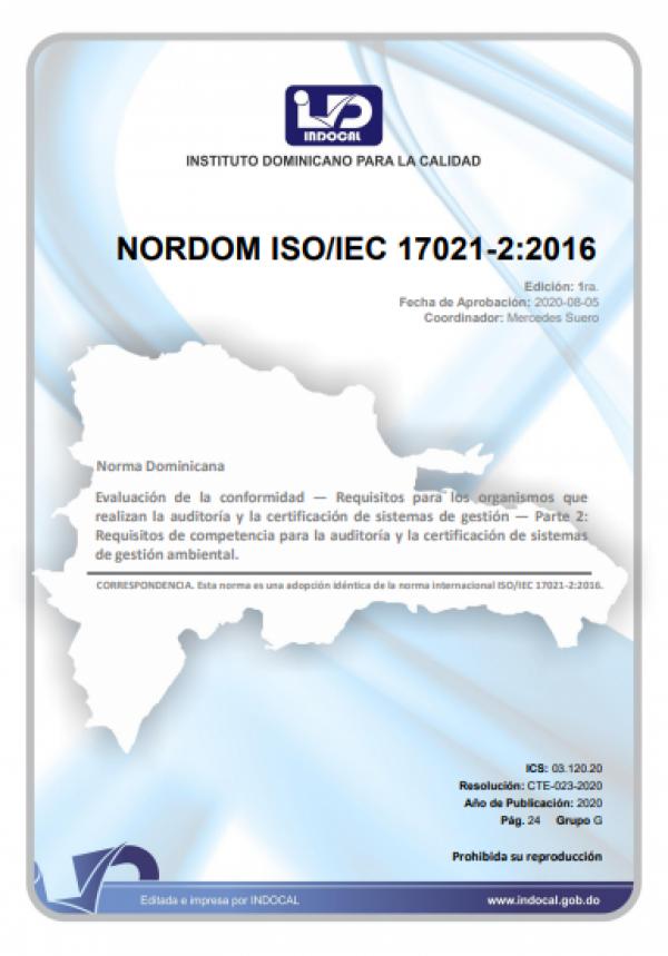 NORDOM ISO/IEC 17021-2:2016 - EVALUACIÓN DE LA CONFORMIDAD - REQUISITOS PARA LOS ORGANISMOS QUE REALIZAN LA AUDITORÍA Y LA CERTIFICACIÓN DE SISTEMAS DE GESTIÓN - PARTE 2: REQUISITOS DE COMPETENCIA PARA LA AUDITORÍA Y LA CERTIFICACIÓN DE SISTEMAS DE GESTIÓ