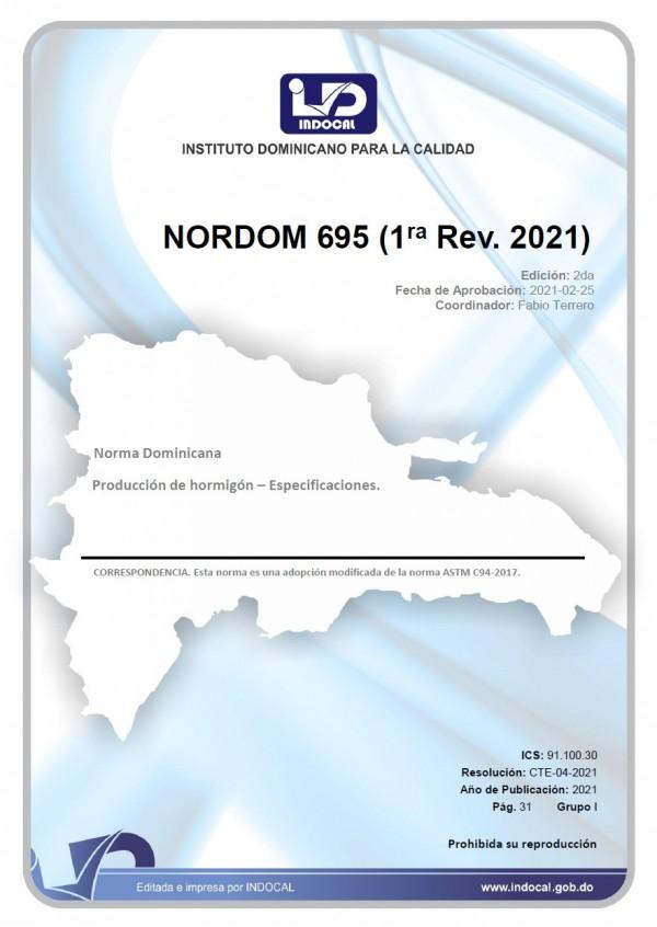 NORDOM 695 - PRODUCCIÓN DE HORMIGÓN - ESPECIFICACIONES. (1RA. REV. 2021)